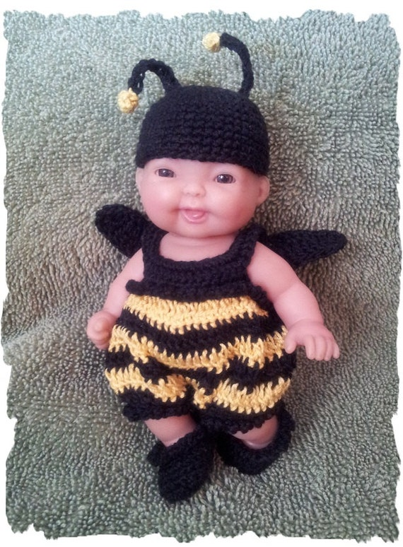 CROCHET PATTERN for Bumble Bee Costume for 5 inch Berenguer