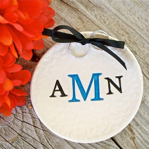 Triple Monogram Leaf Textured Custom Ring Bearer Bowl - Ring Bearer Pillow - Ring Pillow Alternative - Ceremony - Ring Warming