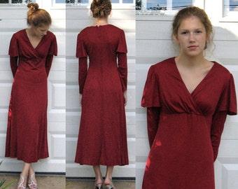 70s Dress .  Garnet Red Dress . red maxi dress . red jersey dress . empire waist dress . merlot dress