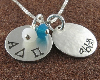 Alpha Delta Pi Necklace, ΑΔΠ Personalized Greek Letter Sterling Silver or 14K Gold Filled Pendant,ΑΔΠ Bid Day,Initiation/OLP