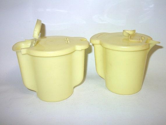 Vintage Cream and Sugar Tupperware Set - Yellow Vintage Kitchenware