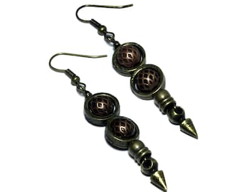 Steampunk Earrings - Copper and Antique Brass