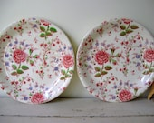 Chintz Rose Johnson Brothers England Set of 2 Snack Plates