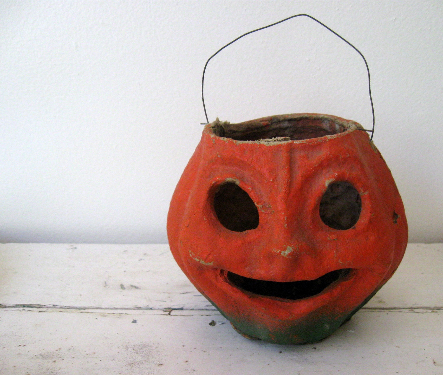 Vintage paper mache pumpkin jack o lantern for halloween decor for Papier mache lanterns