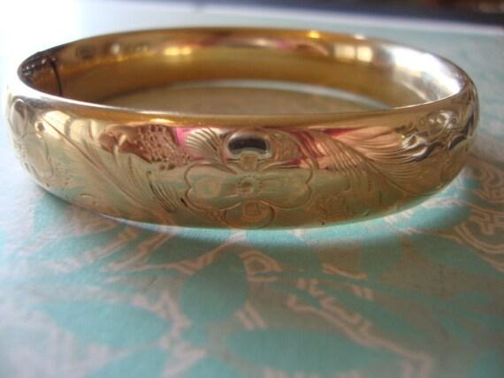1930's Art Nouveau 12k Gold Fill Bangle Bracelet