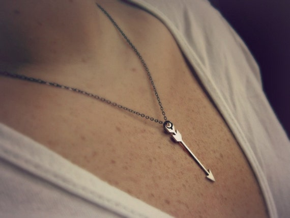 Silver arrow necklace - arrow jewelry - tribal jewelry - everyday necklace - mixed metals