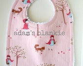 RARE - HARD to Find Fabric - Little Red Riding Hood - Girl Bib - Pink Fox Woods - For the Mod Baby - Chenille and Pearl Snap