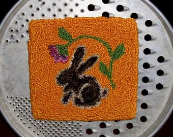 VINTAGE BUNNY Punchneedle on Primitive Grater from Quilts by Elena