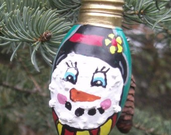 Snowman Light Bulb Ornament - Vintage Green Christmas Tree Light Bulb - Snowman Ornament - Christmas Ornament - Hand Painted Glass - SB1