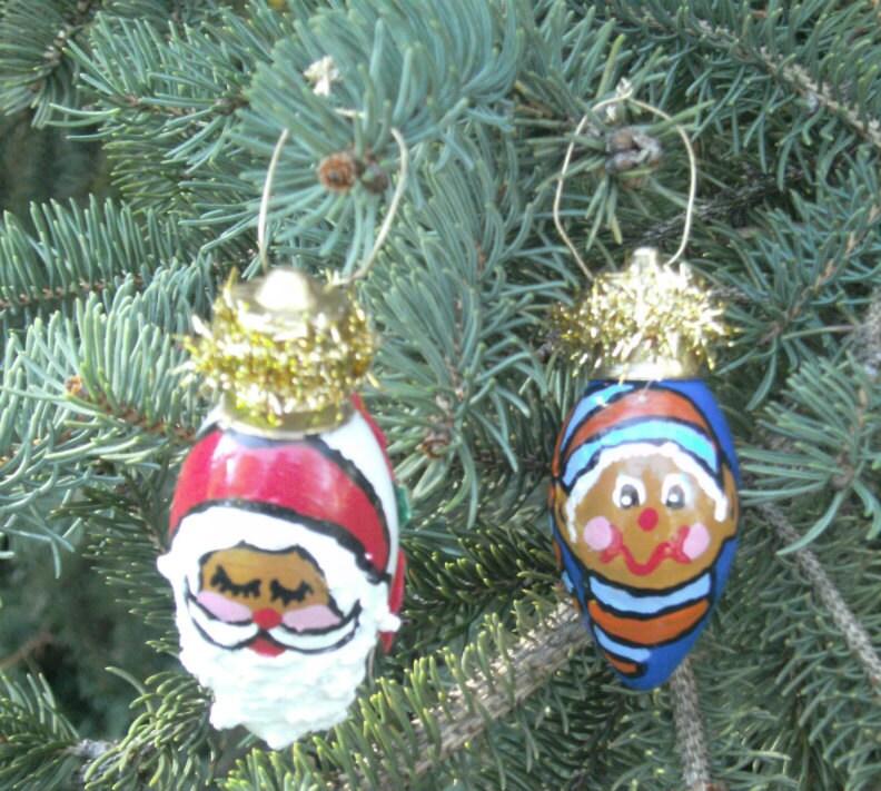 Light Bulb Ornament Santa And Elf African American Santa