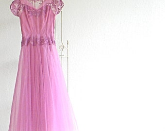 Bright Pink Vintage Dress Formal 50s Emma Domb  Size 8 Fairy Dress Halloween