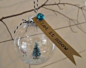 Happy Little Tree - Snow Globe Christmas Ornament - small - OohLalaCo