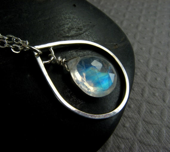 Moonstone Necklace in Sterling Silver - Moonstone Pendant Necklace - Rainbow Moonstone - AAA Moonstone