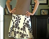 Size 8/10- Black and White Damask-  A-line Twirl Women's Skirt