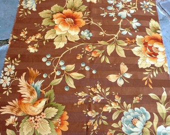 Brown LOVE BIRDS Floral Fabric - RICHLOOM Platinum Collection Sample - Cotton Upholstery Home Decor - Large Flowers Damask - 26 x 20 in