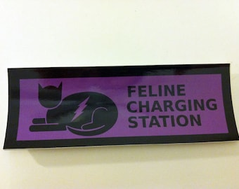 Feline Charging Station sticker--for your laptop, DVD player, or other cat napping spot