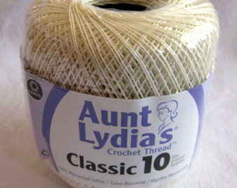 Aunt Lydias Classic Crochet Cotton Thread, Antique white, size 10, bedspread weight