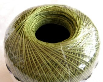 OLIVE Green crochet cotton thread, Aunt Lydias Classic Crochet Cotton Thread,  size 10, khaki green