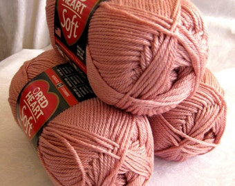Red Heart Soft yarn, ROSE BLUSH,  medium worsted weight, peach pink yarn