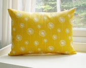 Yellow Pillow Cover Lumbar Pillow 12x16 Decorative Pillow Dandelion Pillow - BlossomPillowCo