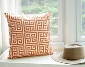 Greek Key Pillow Orange Pillow Decorative Pillow 8 Sizes Accent Pillow