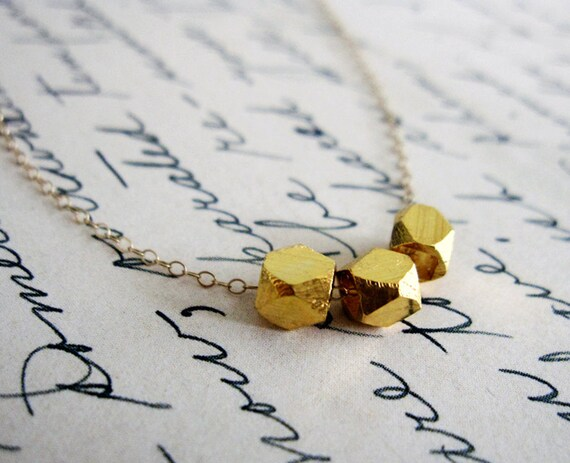 Triple Gold Or Silver Nugget Necklace / Simple Gold Necklace / Modern Everyday Necklace