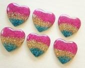 6 pcs Glitter Heart Cabochon (28mm) IK107