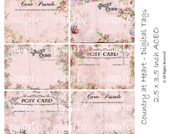 Instant Download -Postcard Pretties  - 2.5 x 3.5 - ACEO  - Printable  Digital Collage Sheet