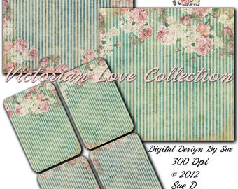 Instant Download Victorian Love Collection Paper Pack -  Printable Digital Collage Sheet - Digital Download Scrapbooking