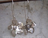 sterling silver flower dangle pierced earrings