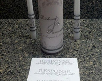 Personalized Wedding Unity Candle Set in damask design with gemstones