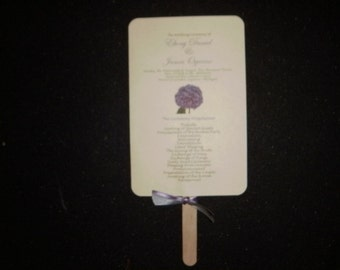 Hydrangeas Wedding Fan Programs with Ribbon and Personalized