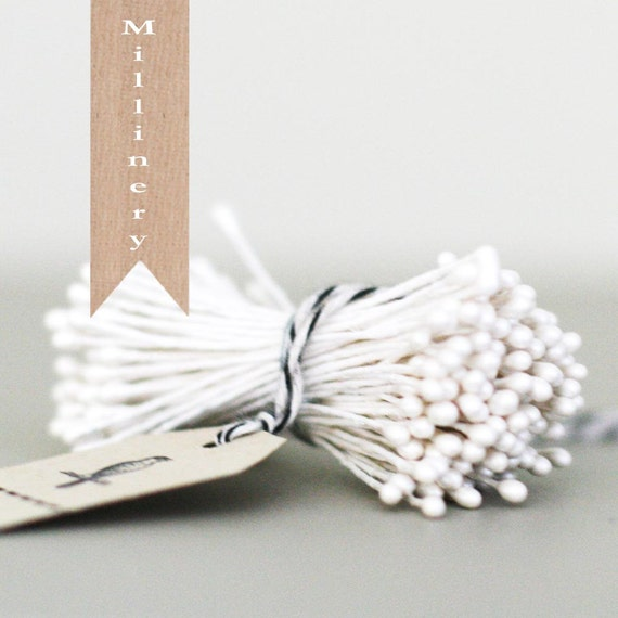 144 Stems of White Pearlized Millinery double-ended Stamen Flower Pips