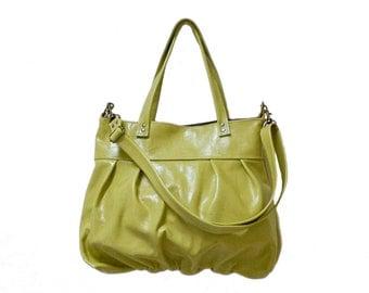 Mini Ruche Bag in Kiwi Green Leather - Made to Order