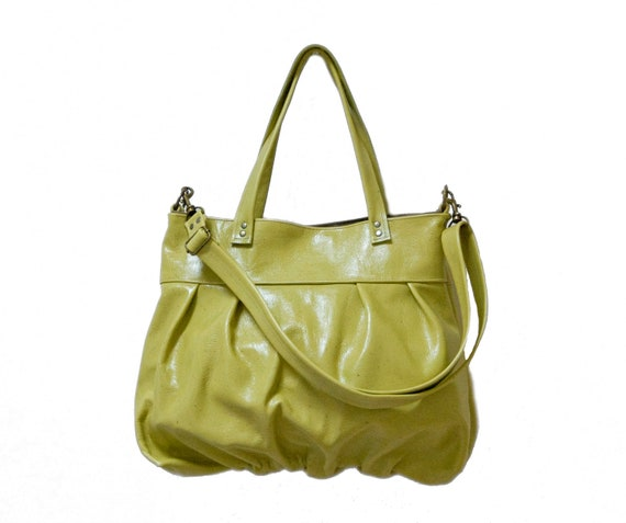 Mini Ruche Bag in Kiwi Green Leather - Made to Order
