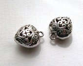 Special Order For Nicola 24 Silver tone Ornate Hollow Heart Charms Pendants16 x 13 mm