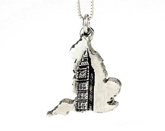 England Necklace Big Ben Clock Jewelry Sterling Silver Country Pendant