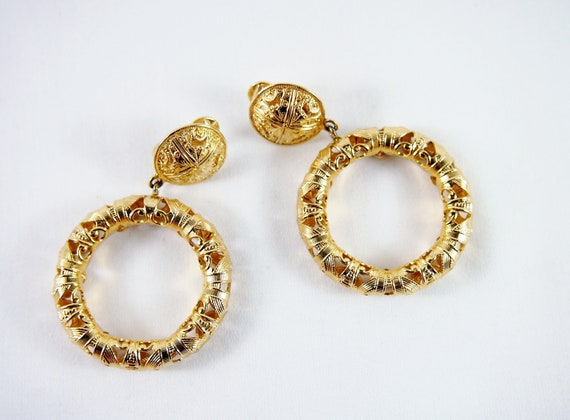 Monet Filigree 80s Hoop Earrings Vintage Jewelry
