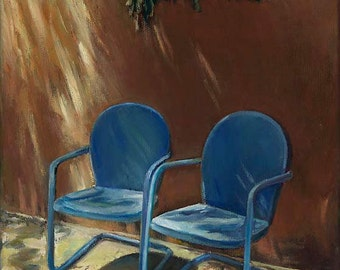 TRUE BLUE CHAIRS New Mexico, Adobe Wall, Southwest Art, Patio, Sunlight, Signed Art Print No. 5