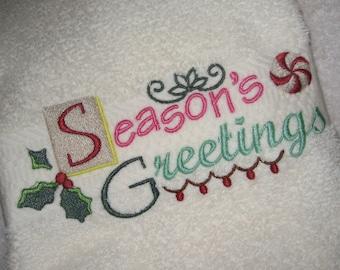 Hand Towel with Seasons Greetings