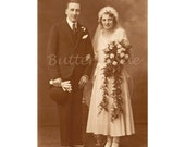 Art Deco Wedding Photograph,Sepia Toned, English 1920's