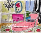 Pink Chaise Black Chandelier
