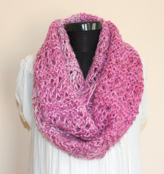 Multicolor Pink Angora Mohair Blend Loop SCARF -Ready to Ship