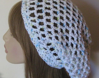 Cotton Open Stitch Slouchy Beanie Dread Tam Hat Snood White with flecks of blue and green