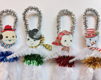 SNOWMAN group CHRISTMAS vintage style chenille ORNAMENTS set of 4