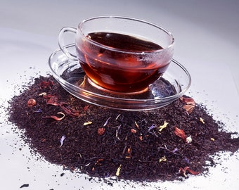 Tea Hibiscus and Rose Hip Loose Leaf Hand Blended Tea 4 ounces