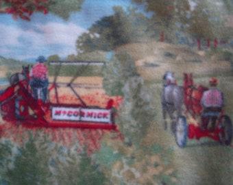 Vintage Farm Scene NoSew FleeceBlanket