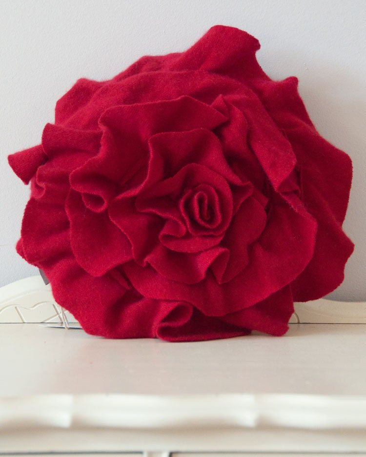 Small Ruffle Rose Pillow in Red Luxurious by OldMadeNewOrg on Etsy