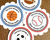 PRINTABLE Sports Bookplate Labels - Personalized - DIY - you pick the border color