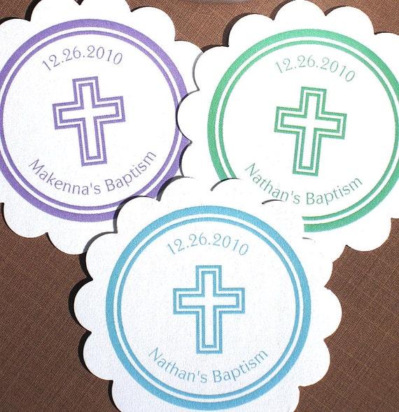 Items similar to Etiquetas imprimibles bautizo con Cruz para ...